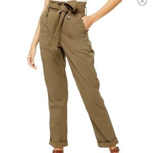 Topshop Rory Paperbag Waist Utility Trousers Sz 6